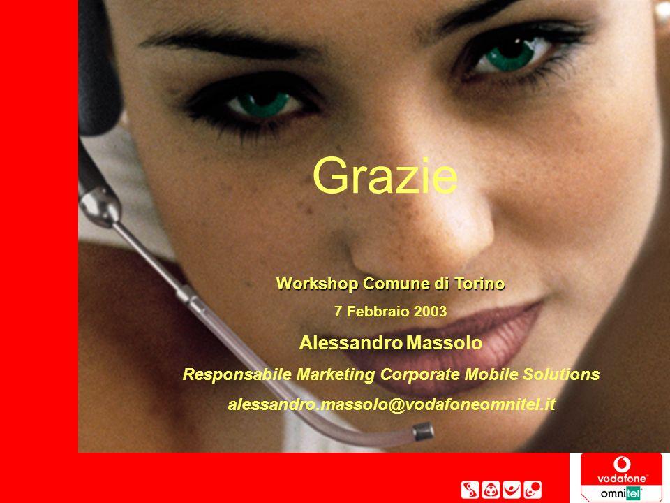 Pag. 12 Workshop Comune di Torino, 7 Febbraio 2003 Grazie Workshop Comune di Torino 7 Febbraio 2003 Alessandro Massolo Responsabile Marketing Corporat
