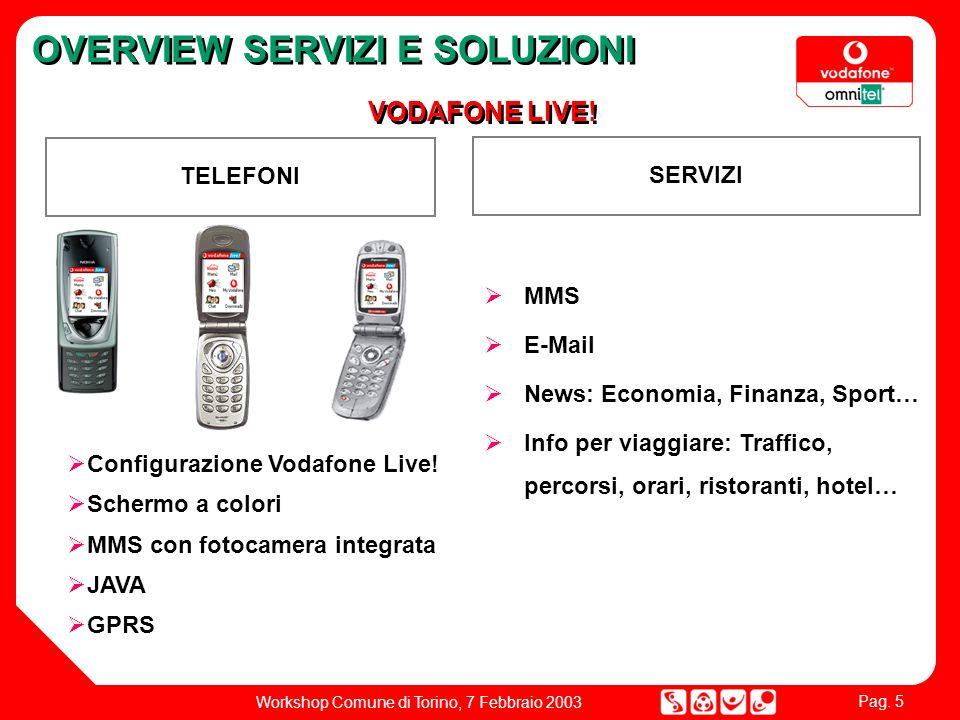 Pag. 5 Workshop Comune di Torino, 7 Febbraio 2003 OVERVIEW SERVIZI E SOLUZIONI VODAFONE LIVE.