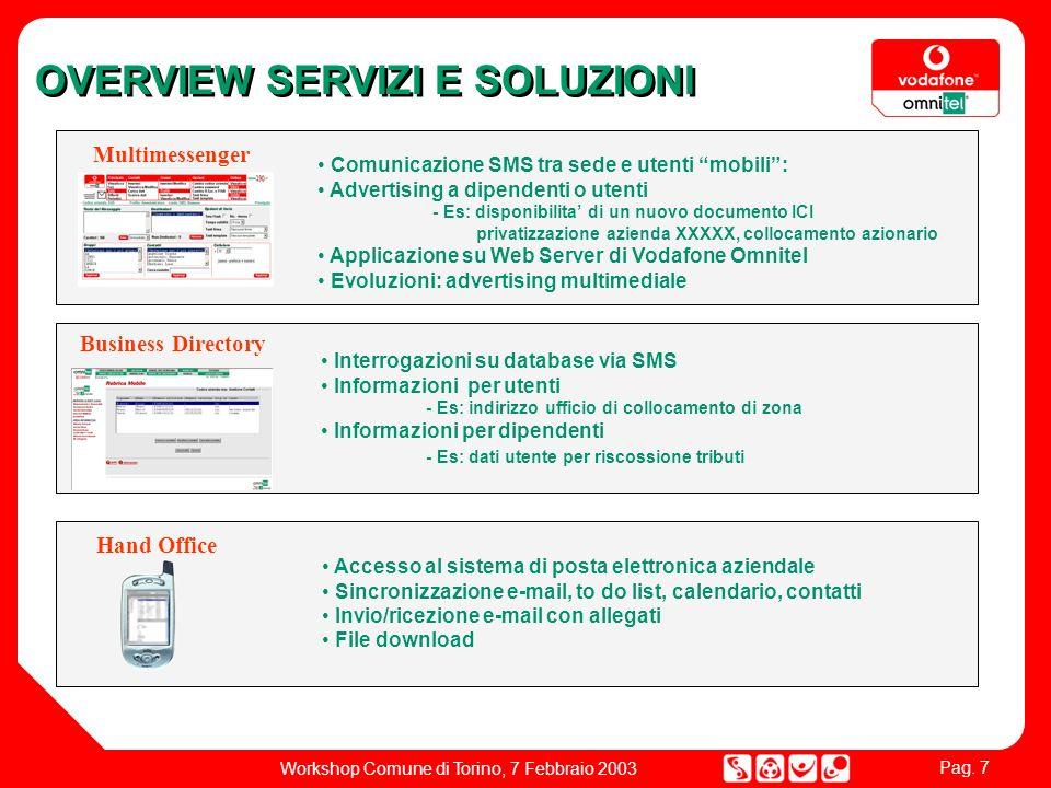 Pag. 7 Workshop Comune di Torino, 7 Febbraio 2003 Multimessenger Comunicazione SMS tra sede e utenti mobili: Advertising a dipendenti o utenti - Es: d