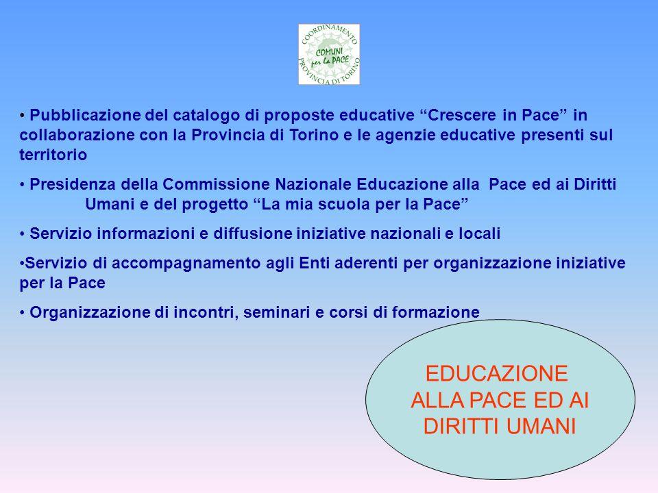 EDUCAZIONE ALLA PACE ED AI DIRITTI UMANI Pubblicazione del catalogo di proposte educative Crescere in Pace in collaborazione con la Provincia di Torin