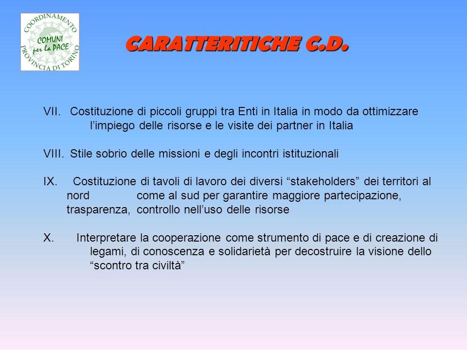 CARATTERITICHE C.D. VII. Costituzione di piccoli gruppi tra Enti in Italia in modo da ottimizzare limpiego delle risorse e le visite dei partner in It