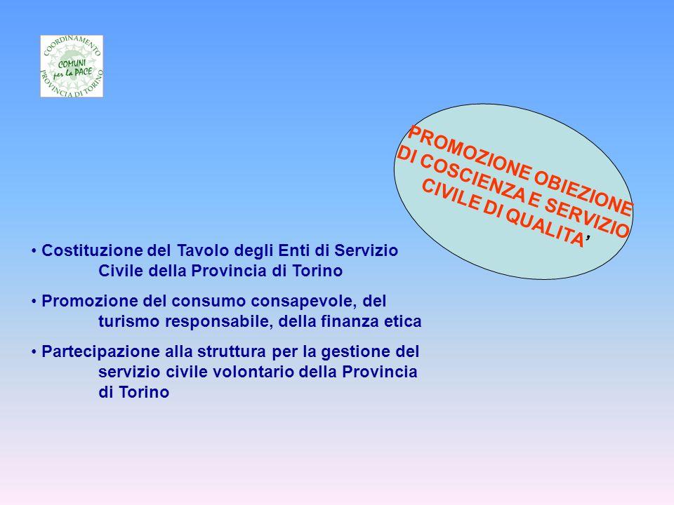 PROMOZIONE OBIEZIONE DI COSCIENZA E SERVIZIO CIVILE DI QUALITA Costituzione del Tavolo degli Enti di Servizio Civile della Provincia di Torino Promozione del consumo consapevole, del turismo responsabile, della finanza etica Partecipazione alla struttura per la gestione del servizio civile volontario della Provincia di Torino