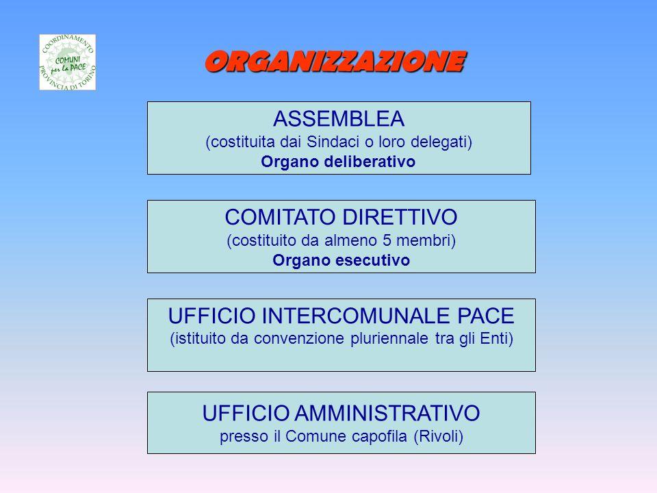 ORGANIZZAZIONE ASSEMBLEA (costituita dai Sindaci o loro delegati) Organo deliberativo COMITATO DIRETTIVO (costituito da almeno 5 membri) Organo esecutivo UFFICIO INTERCOMUNALE PACE (istituito da convenzione pluriennale tra gli Enti) UFFICIO AMMINISTRATIVO presso il Comune capofila (Rivoli)