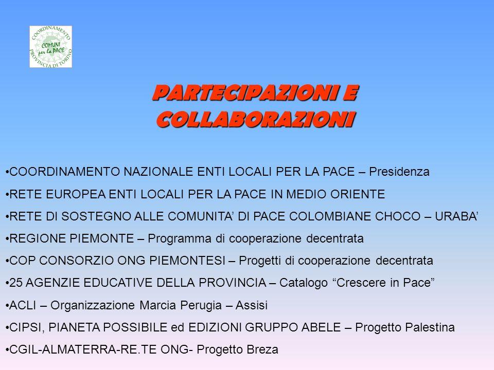 PARTECIPAZIONI E COLLABORAZIONI COORDINAMENTO NAZIONALE ENTI LOCALI PER LA PACE – Presidenza RETE EUROPEA ENTI LOCALI PER LA PACE IN MEDIO ORIENTE RETE DI SOSTEGNO ALLE COMUNITA DI PACE COLOMBIANE CHOCO – URABA REGIONE PIEMONTE – Programma di cooperazione decentrata COP CONSORZIO ONG PIEMONTESI – Progetti di cooperazione decentrata 25 AGENZIE EDUCATIVE DELLA PROVINCIA – Catalogo Crescere in Pace ACLI – Organizzazione Marcia Perugia – Assisi CIPSI, PIANETA POSSIBILE ed EDIZIONI GRUPPO ABELE – Progetto Palestina CGIL-ALMATERRA-RE.TE ONG- Progetto Breza