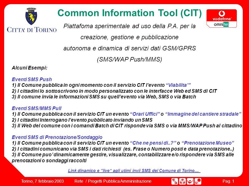 Pag. 1 Rete / Progetti Pubblica AmministrazioneTorino, 7 febbraio 2003 Alcuni Esempi: Eventi SMS Push 1) Il Comune pubblica in ogni momento con il ser