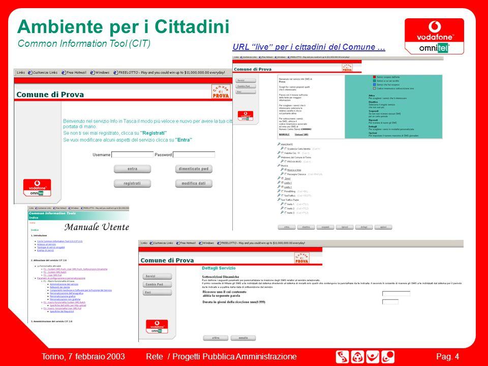 Pag. 4 Rete / Progetti Pubblica AmministrazioneTorino, 7 febbraio 2003 Ambiente per i Cittadini Common Information Tool (CIT) Manuale Utente URL live