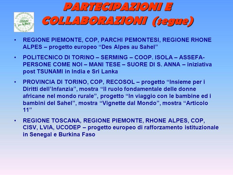 PARTECIPAZIONI E COLLABORAZIONI (segue) REGIONE PIEMONTE, COP, PARCHI PEMONTESI, REGIONE RHONE ALPES – progetto europeo Des Alpes au Sahel POLITECNICO DI TORINO – SERMING – COOP.