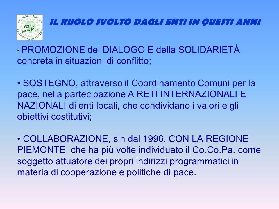 IL RUOLO SVOLTO DAGLI ENTI IN QUESTI ANNI PROMOZIONE del DIALOGO E della SOLIDARIETÀ concreta in situazioni di conflitto; SOSTEGNO, attraverso il Coordinamento Comuni per la pace, nella partecipazione A RETI INTERNAZIONALI E NAZIONALI di enti locali, che condividano i valori e gli obiettivi costitutivi; COLLABORAZIONE, sin dal 1996, CON LA REGIONE PIEMONTE, che ha più volte individuato il Co.Co.Pa.