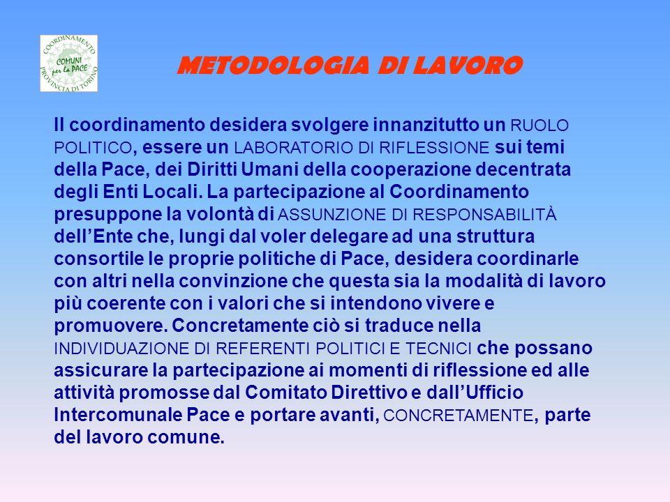 METODOLOGIA DI LAVORO Il coordinamento desidera svolgere innanzitutto un RUOLO POLITICO, essere un LABORATORIO DI RIFLESSIONE sui temi della Pace, dei Diritti Umani della cooperazione decentrata degli Enti Locali.
