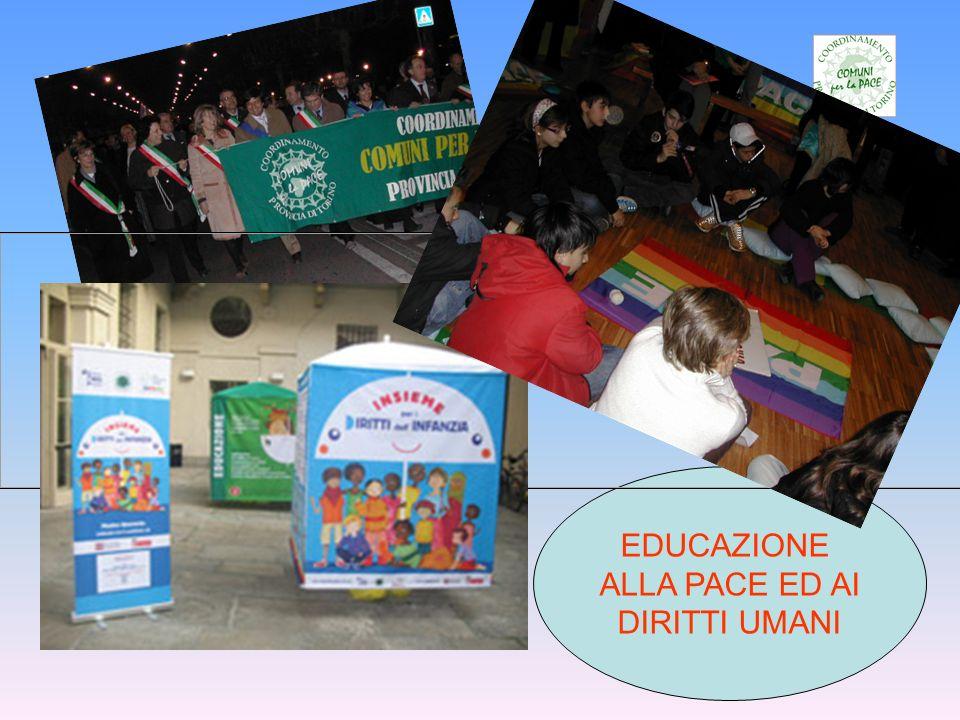 ATTIVITA 2010-2012 EDUCAZIONE ALLA PACE E AI DIRITTI UMANI Giovani: costruttori di Pace Il progetto è stato presentato alla Provincia di Torino, sulla base della L.R.