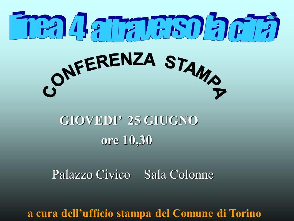GIOVEDI 25 GIUGNO Palazzo Civico Sala Colonne ore 10,30 a cura dellufficio stampa del Comune di Torino