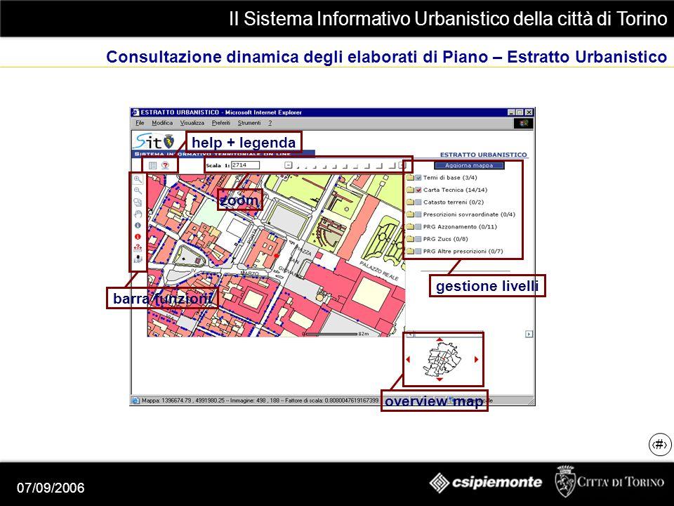 Il Sistema Informativo Urbanistico della città di Torino 16 07/09/2006 Consultazione dinamica degli elaborati di Piano – Estratto Urbanistico gestione livelli overview map barra funzioni zoom help + legenda