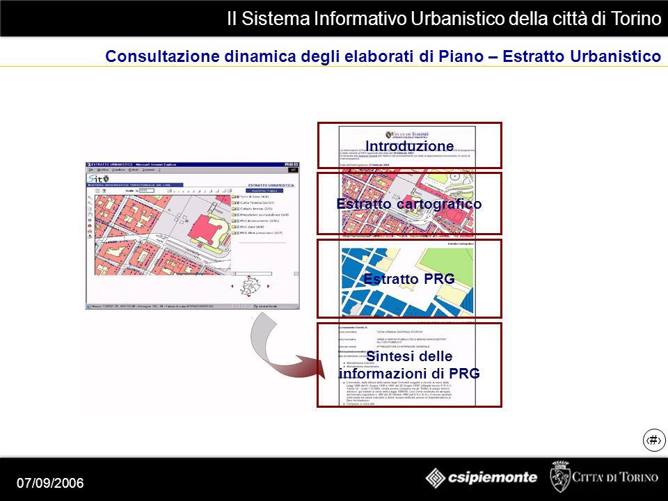 Il Sistema Informativo Urbanistico della città di Torino 17 07/09/2006 Consultazione dinamica degli elaborati di Piano – Estratto Urbanistico Introduzione Estratto cartografico Estratto PRG Sintesi delle informazioni di PRG