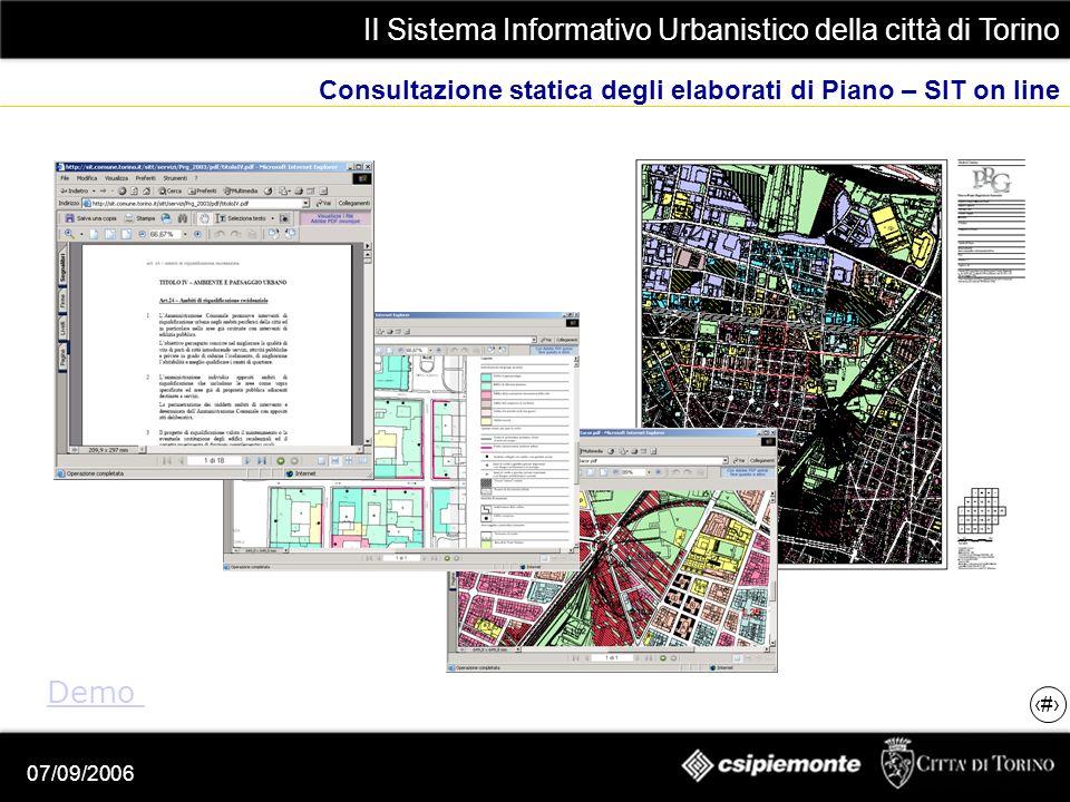 Il Sistema Informativo Urbanistico della città di Torino 20 07/09/2006 Consultazione statica degli elaborati di Piano – SIT on line Demo