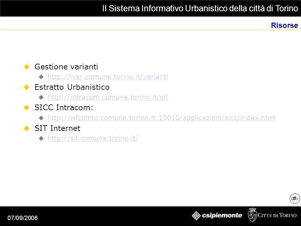 Il Sistema Informativo Urbanistico della città di Torino 22 07/09/2006 Risorse Gestione varianti http://ivar.comune.torino.it/varianti Estratto Urbanistico http://intracom.comune.torino.it/sit SICC Intracom: http://wfcomto.comune.torino.it:19010/applicazioni/sicc/index.html SIT Internet http://sit.comune.torino.it/