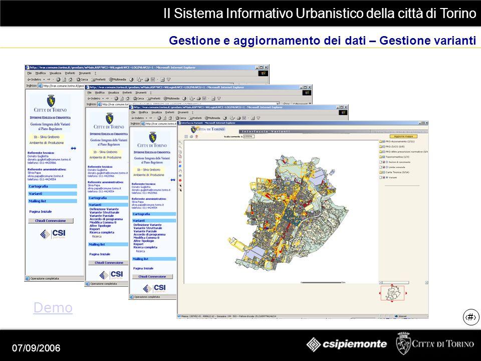 Il Sistema Informativo Urbanistico della città di Torino 5 07/09/2006 Gestione e aggiornamento dei dati – Gestione varianti Demo