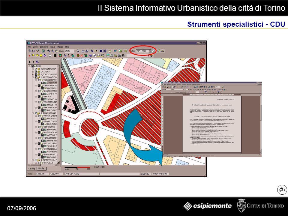 Il Sistema Informativo Urbanistico della città di Torino 8 07/09/2006 Strumenti specialistici - CDU
