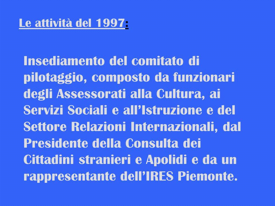 Le attività del 1997: Insediamento del comitato di pilotaggio, composto da funzionari degli Assessorati alla Cultura, ai Servizi Sociali e allIstruzione e del Settore Relazioni Internazionali, dal Presidente della Consulta dei Cittadini stranieri e Apolidi e da un rappresentante dellIRES Piemonte.