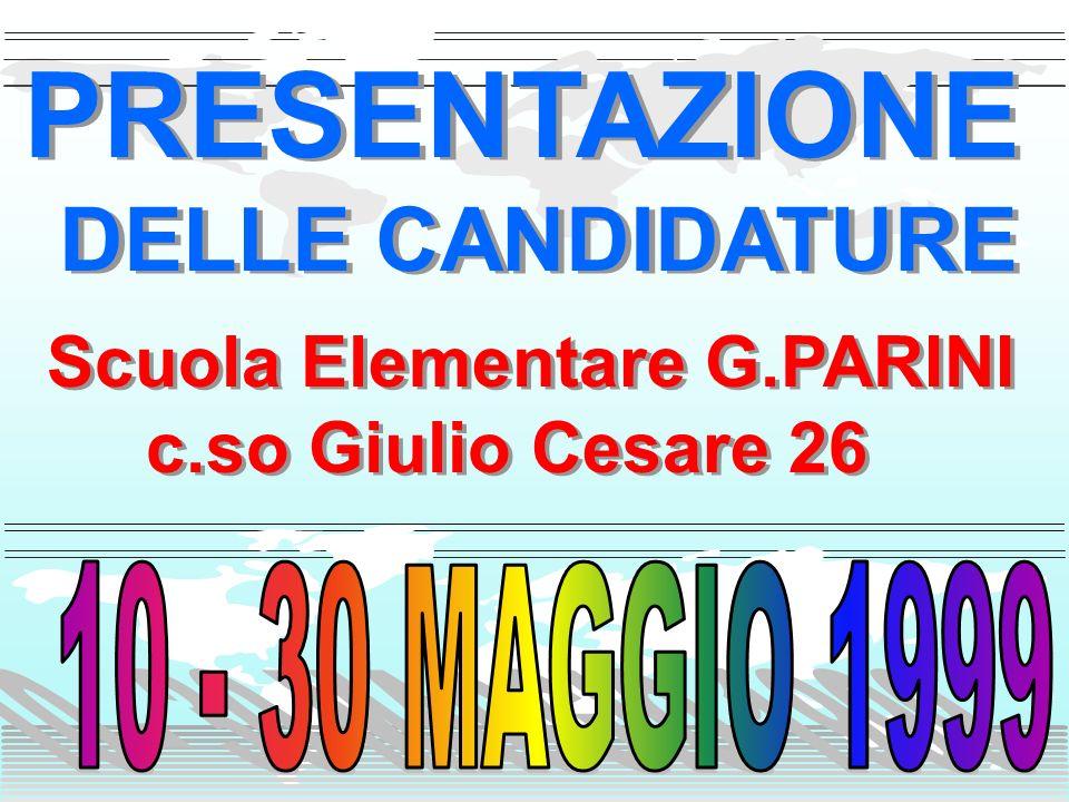 Scuola Elementare G.PARINI c.so Giulio Cesare 26 Scuola Elementare G.PARINI c.so Giulio Cesare 26 PRESENTAZIONE DELLE CANDIDATURE PRESENTAZIONE DELLE