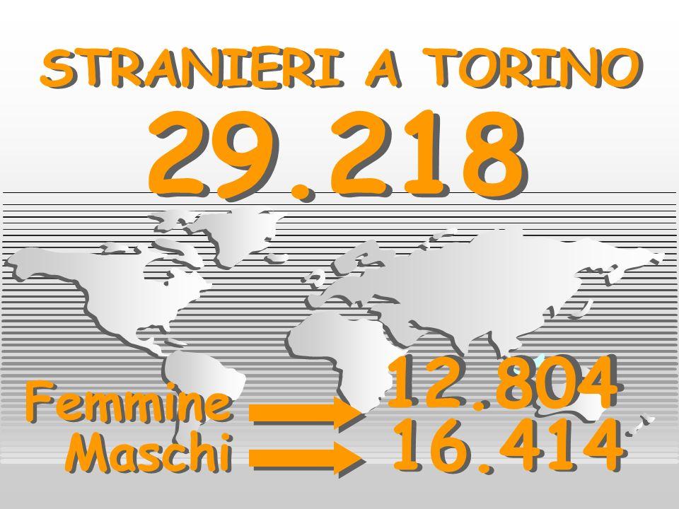 STRANIERI A TORINO STRANIERI A TORINO Femmine Maschi 12.804 16.414 29.218