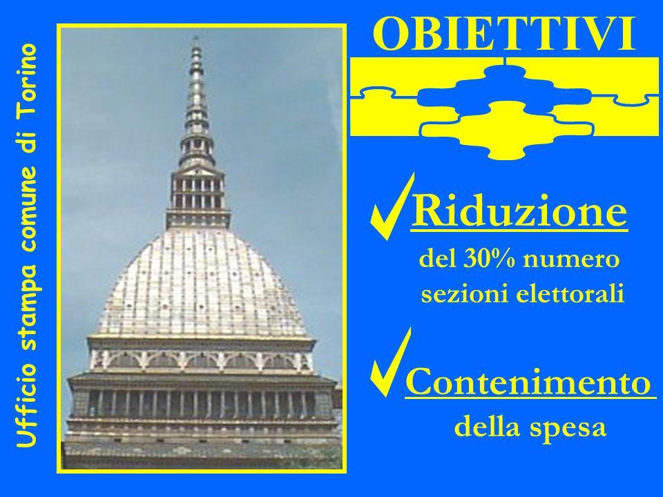 U f f i c i o s t a m p a c o m u n e d i T o r i n o OBIETTIVI Riduzione del 30% numero sezioni elettorali Contenimento della spesa