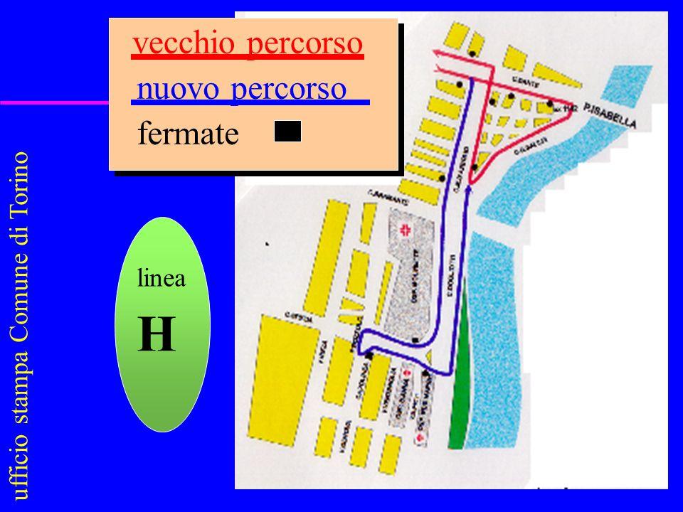 vecchio percorso nuovo percorso fermate ufficio stampa Comune di Torino linea H