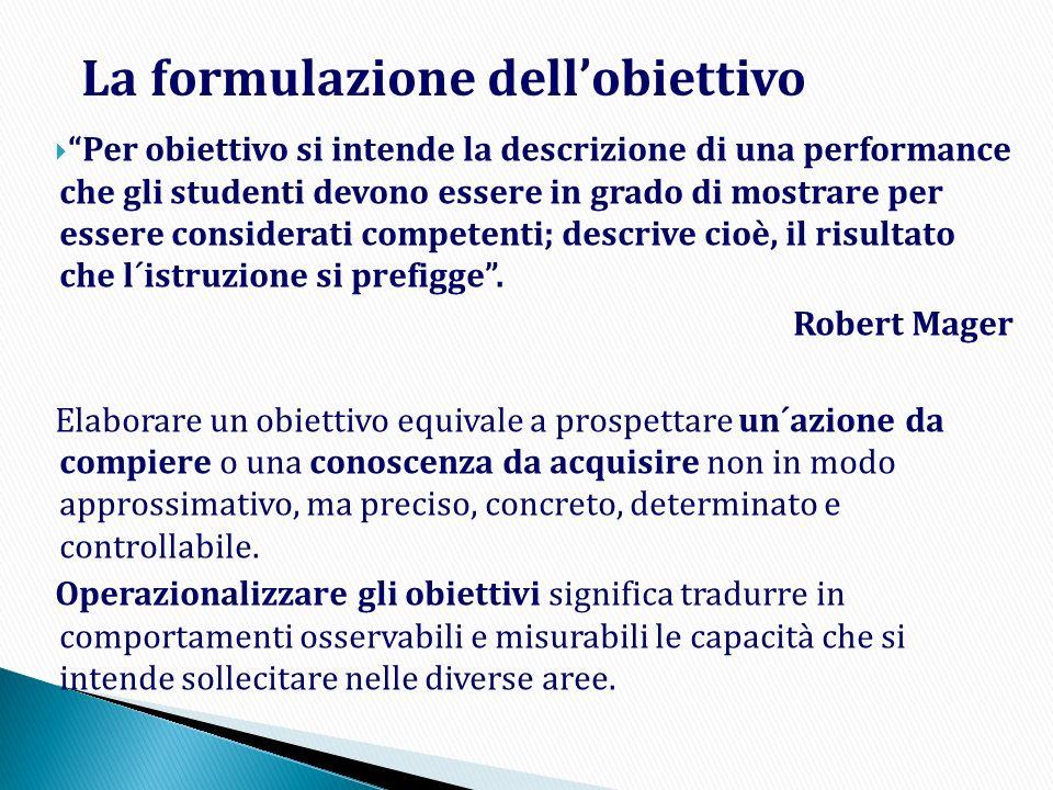 Per obiettivo si intende la descrizione di una performance che gli studenti devono essere in grado di mostrare per essere considerati competenti; desc