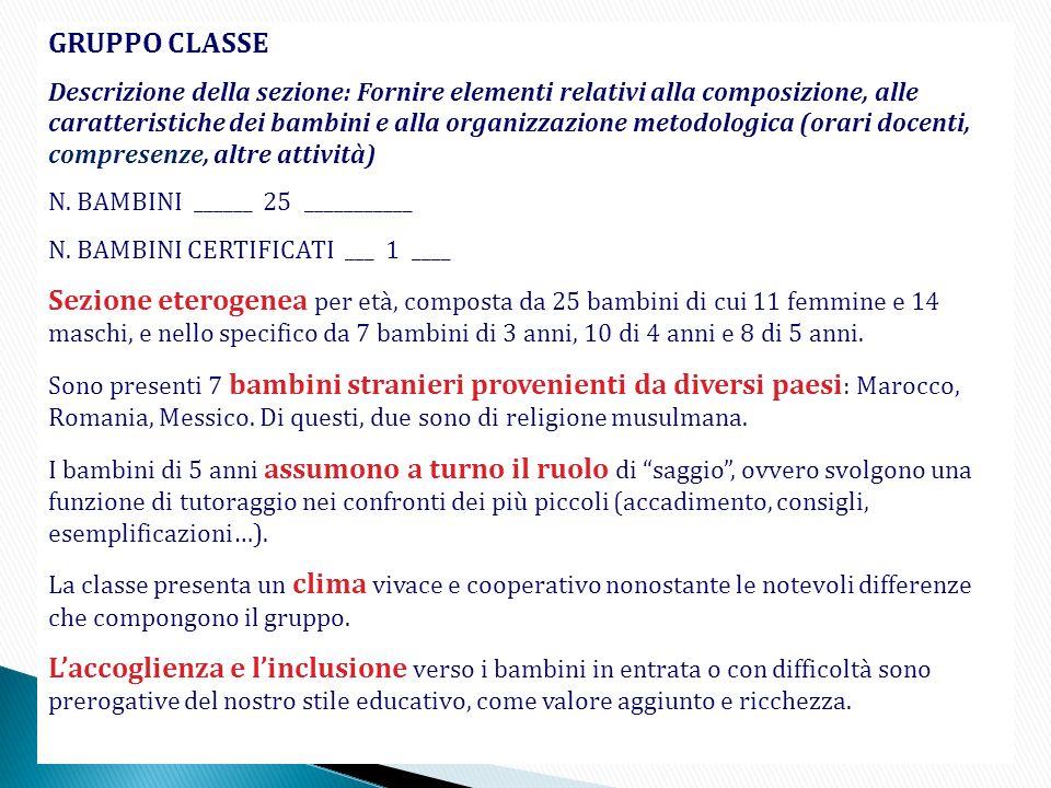 GRUPPO CLASSE Descrizione della sezione: Fornire elementi relativi alla composizione, alle caratteristiche dei bambini e alla organizzazione metodolog