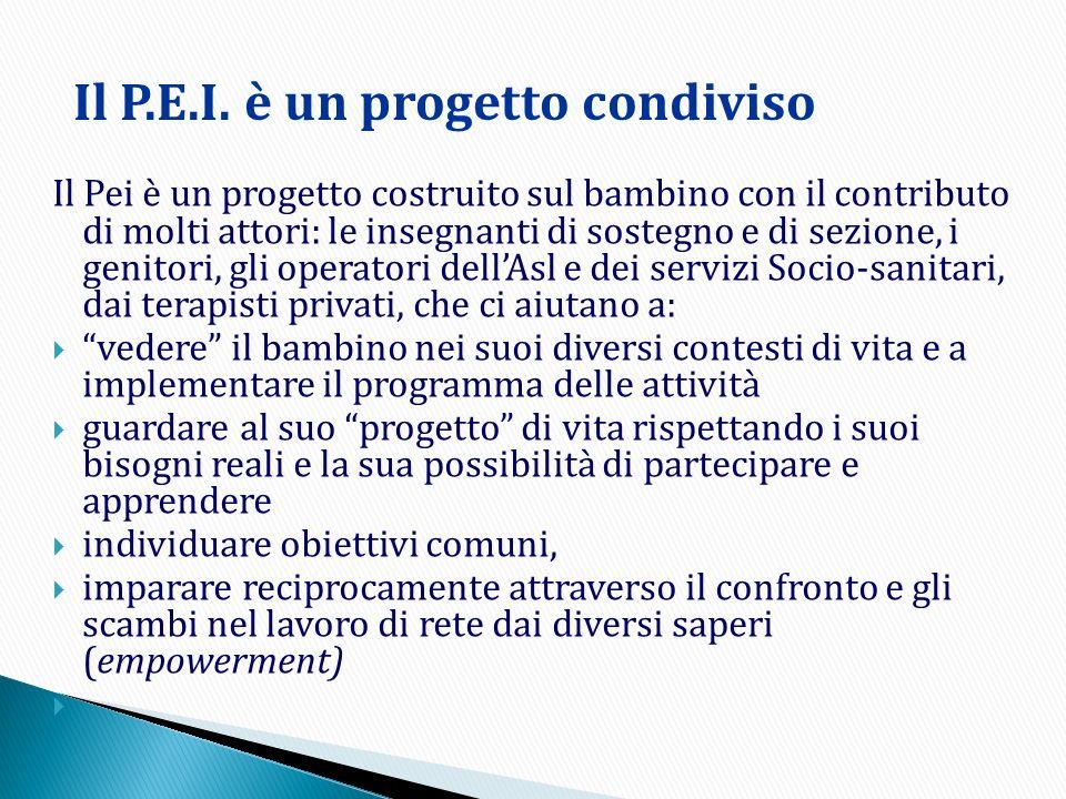 Il Pei è un progetto costruito sul bambino con il contributo di molti attori: le insegnanti di sostegno e di sezione, i genitori, gli operatori dellAs