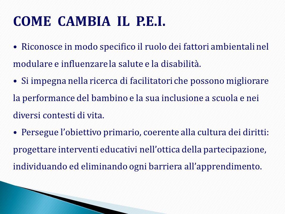 COME CAMBIA IL P.E.I. Riconosce in modo specifico il ruolo dei fattori ambientali nel modulare e influenzare la salute e la disabilità. Si impegna nel