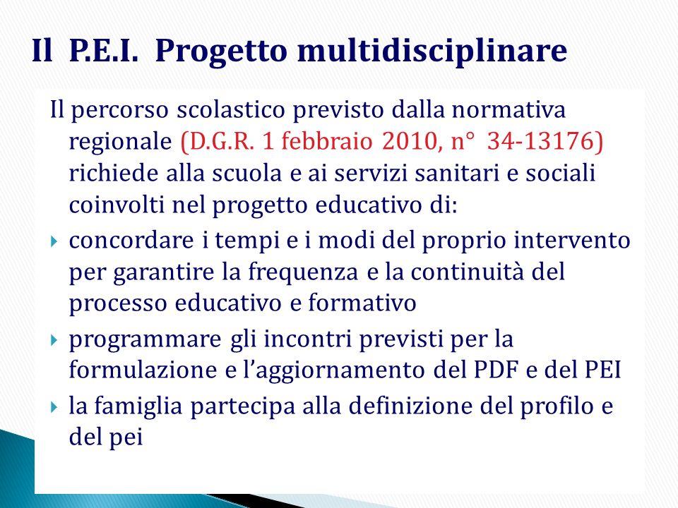 Il P.E.I. Progetto multidisciplinare Il percorso scolastico previsto dalla normativa regionale (D.G.R. 1 febbraio 2010, n° 34-13176) richiede alla scu