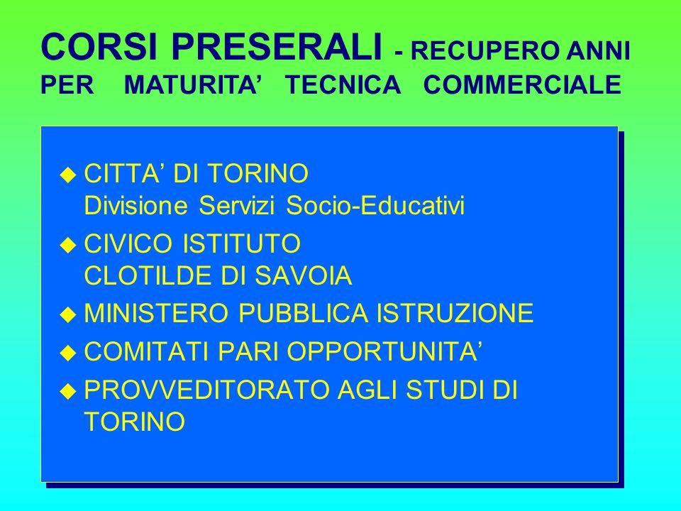 CITTA DI TORINO Divisione Servizi Socio-Educativi CIVICO ISTITUTO CLOTILDE DI SAVOIA MINISTERO PUBBLICA ISTRUZIONE COMITATI PARI OPPORTUNITA PROVVEDITORATO AGLI STUDI DI TORINO CORSI PRESERALI - RECUPERO ANNI PER MATURITA TECNICA COMMERCIALE