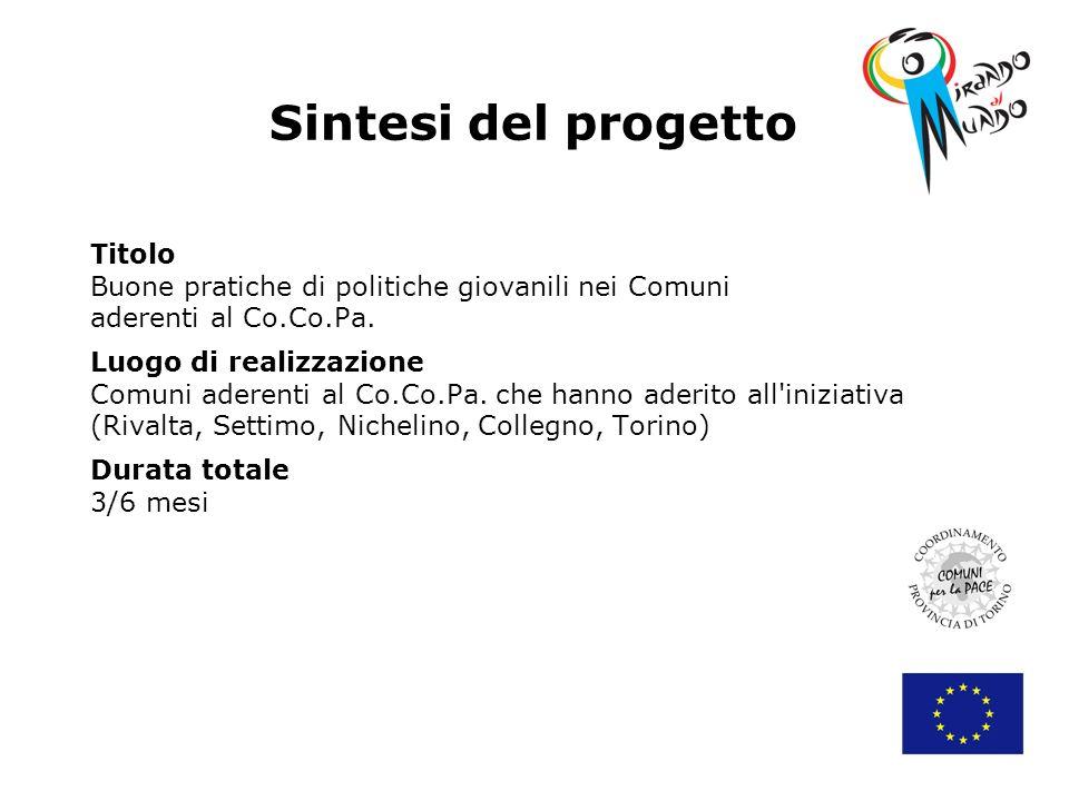 Sintesi del progetto Titolo Buone pratiche di politiche giovanili nei Comuni aderenti al Co.Co.Pa.