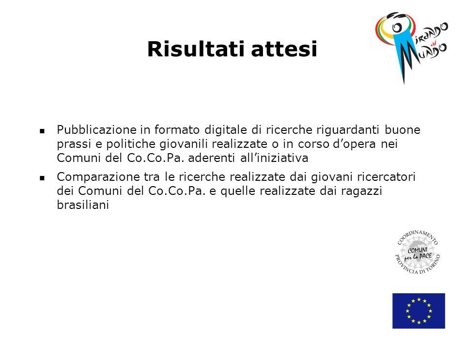 Risultati attesi Pubblicazione in formato digitale di ricerche riguardanti buone prassi e politiche giovanili realizzate o in corso dopera nei Comuni del Co.Co.Pa.