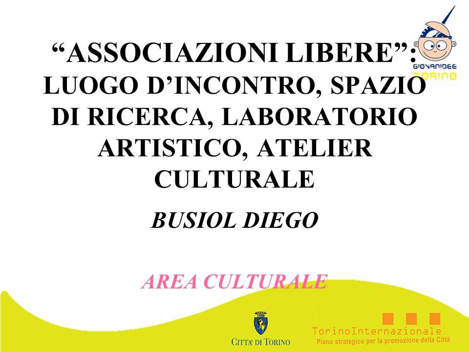 ASSOCIAZIONI LIBERE: LUOGO DINCONTRO, SPAZIO DI RICERCA, LABORATORIO ARTISTICO, ATELIER CULTURALE BUSIOL DIEGO AREA CULTURALE
