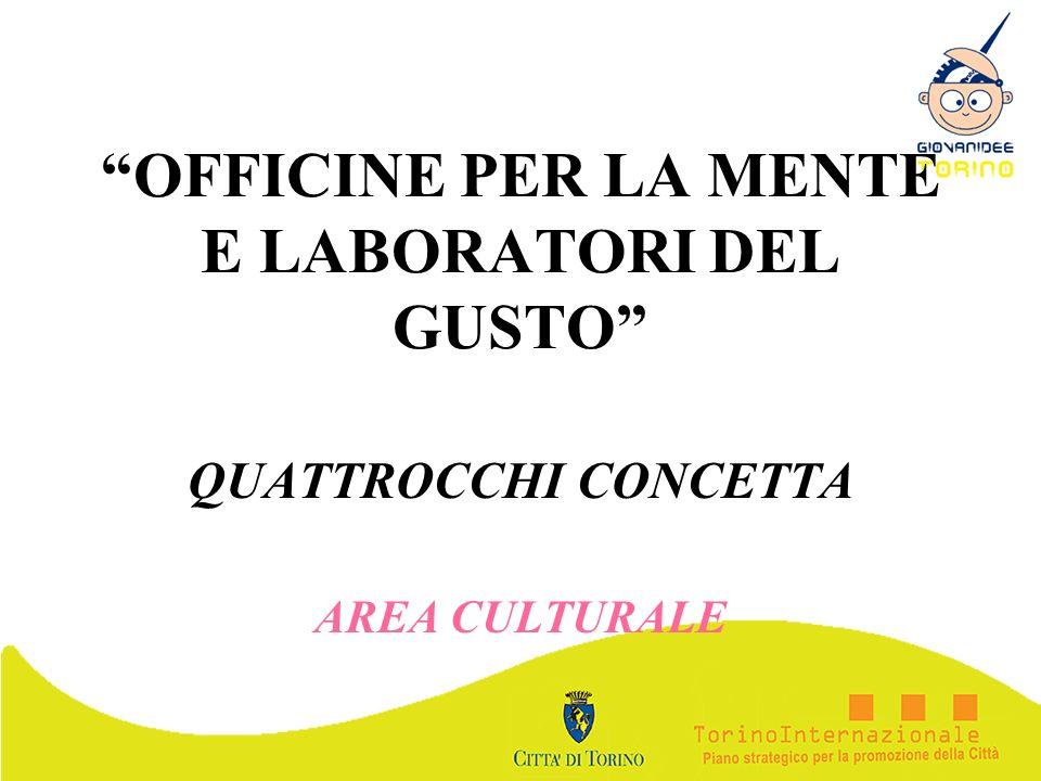 OFFICINE PER LA MENTE E LABORATORI DEL GUSTO QUATTROCCHI CONCETTA AREA CULTURALE