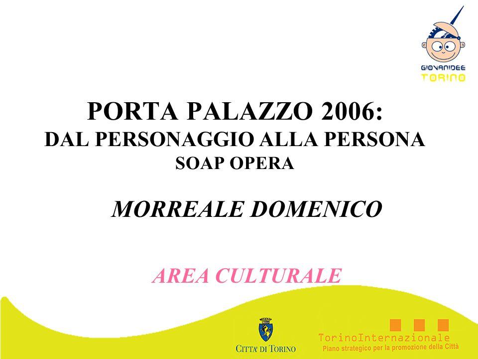 PORTA PALAZZO 2006: DAL PERSONAGGIO ALLA PERSONA SOAP OPERA MORREALE DOMENICO AREA CULTURALE