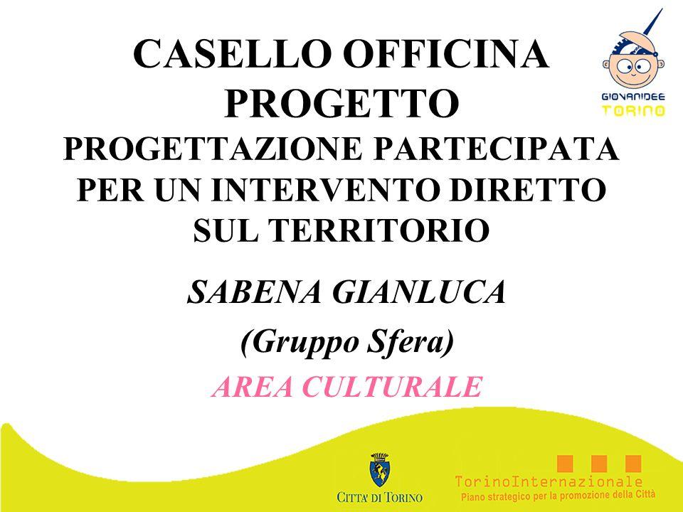 CASELLO OFFICINA PROGETTO PROGETTAZIONE PARTECIPATA PER UN INTERVENTO DIRETTO SUL TERRITORIO SABENA GIANLUCA (Gruppo Sfera) AREA CULTURALE