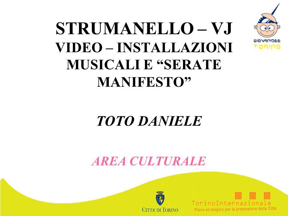 STRUMANELLO – VJ VIDEO – INSTALLAZIONI MUSICALI E SERATE MANIFESTO TOTO DANIELE AREA CULTURALE