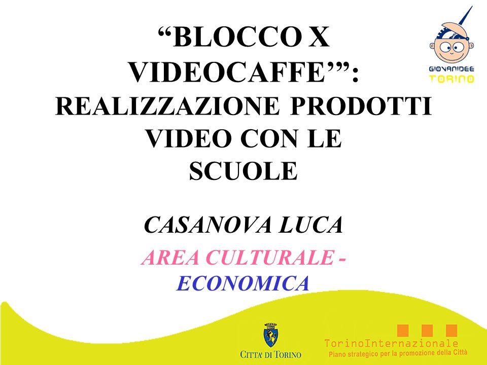 BLOCCO X VIDEOCAFFE: REALIZZAZIONE PRODOTTI VIDEO CON LE SCUOLE CASANOVA LUCA AREA CULTURALE - ECONOMICA