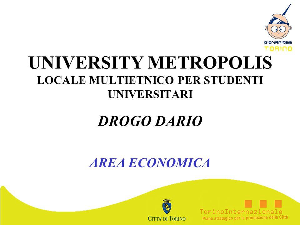 UNIVERSITY METROPOLIS LOCALE MULTIETNICO PER STUDENTI UNIVERSITARI DROGO DARIO AREA ECONOMICA