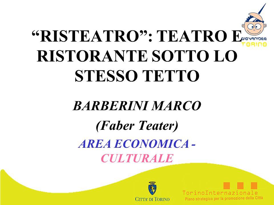 RISTEATRO: TEATRO E RISTORANTE SOTTO LO STESSO TETTO BARBERINI MARCO (Faber Teater) AREA ECONOMICA - CULTURALE