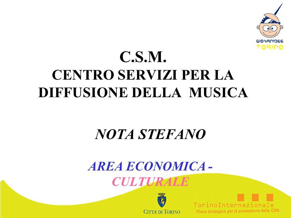 C.S.M. CENTRO SERVIZI PER LA DIFFUSIONE DELLA MUSICA NOTA STEFANO AREA ECONOMICA - CULTURALE