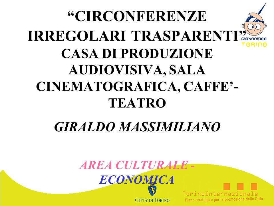 CIRCONFERENZE IRREGOLARI TRASPARENTI CASA DI PRODUZIONE AUDIOVISIVA, SALA CINEMATOGRAFICA, CAFFE- TEATRO GIRALDO MASSIMILIANO AREA CULTURALE - ECONOMI