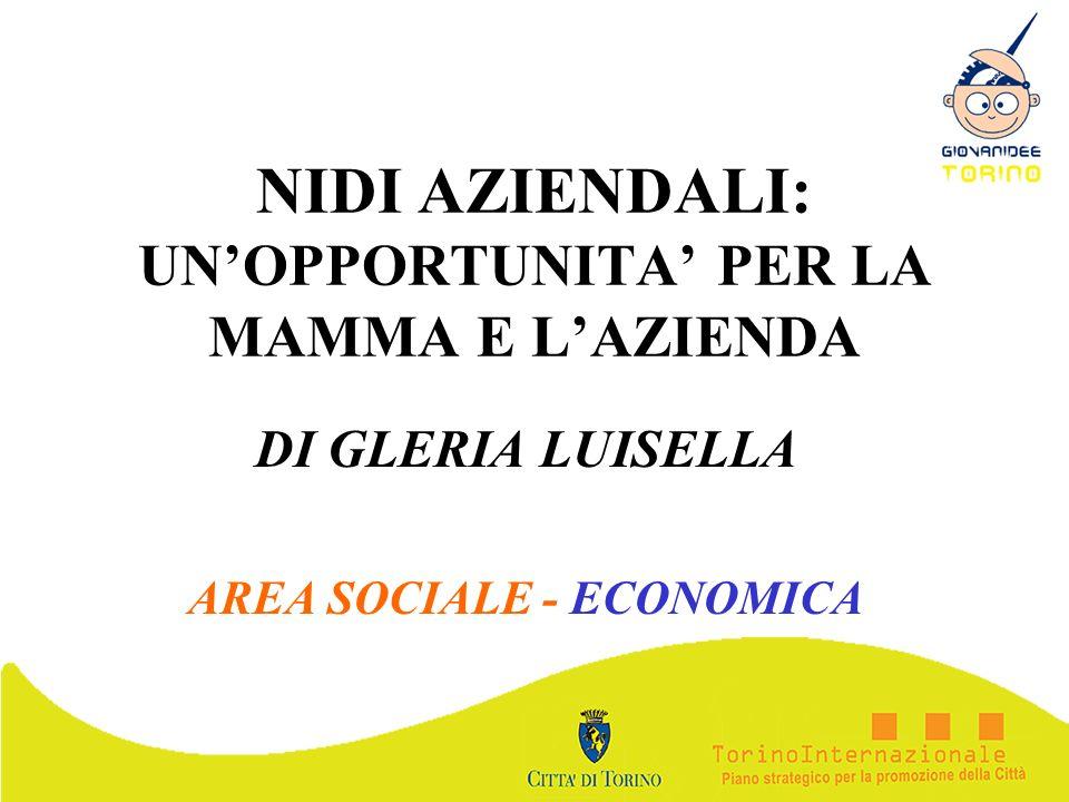 NIDI AZIENDALI: UNOPPORTUNITA PER LA MAMMA E LAZIENDA DI GLERIA LUISELLA AREA SOCIALE - ECONOMICA