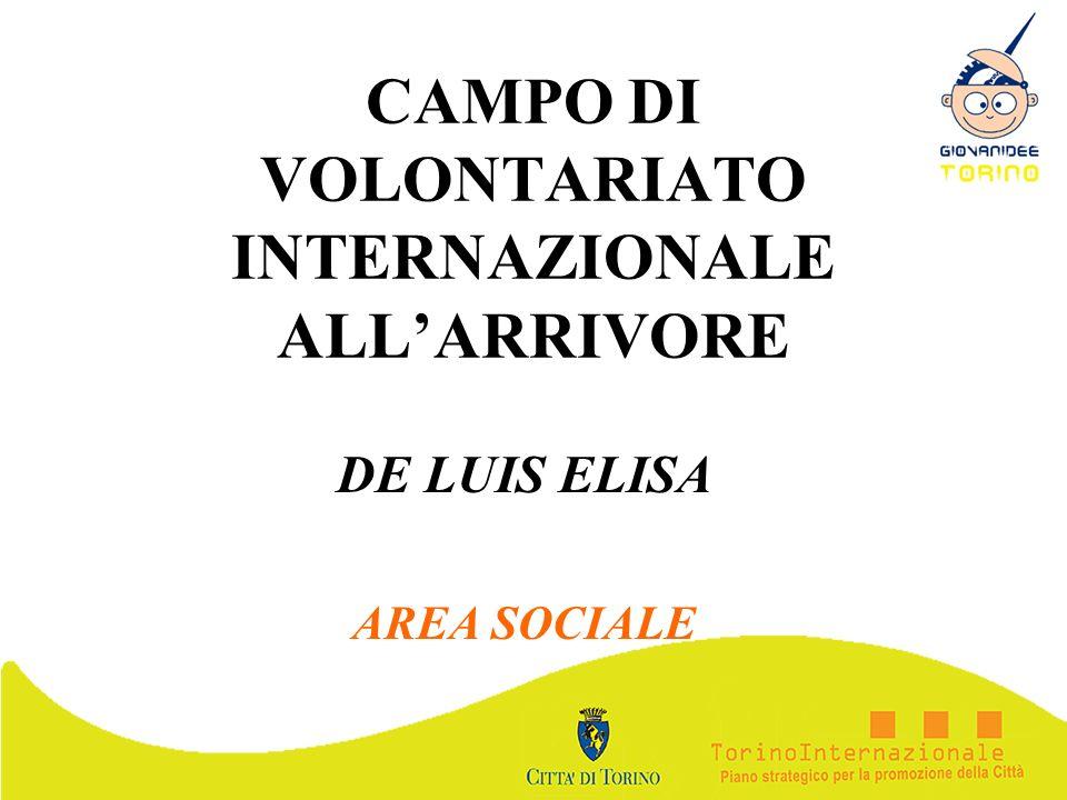 CAMPO DI VOLONTARIATO INTERNAZIONALE ALLARRIVORE DE LUIS ELISA AREA SOCIALE