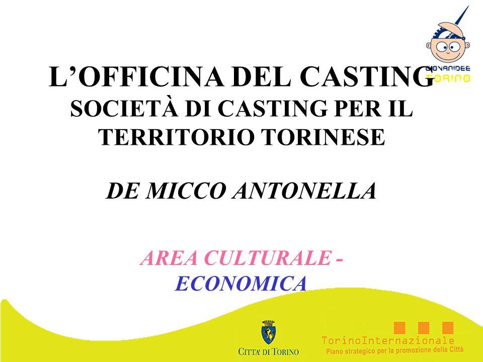 LOFFICINA DEL CASTING SOCIETÀ DI CASTING PER IL TERRITORIO TORINESE DE MICCO ANTONELLA AREA CULTURALE - ECONOMICA