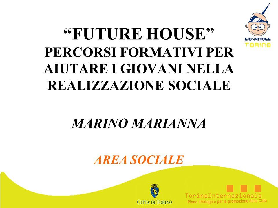 FUTURE HOUSE PERCORSI FORMATIVI PER AIUTARE I GIOVANI NELLA REALIZZAZIONE SOCIALE MARINO MARIANNA AREA SOCIALE