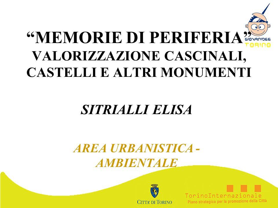 MEMORIE DI PERIFERIA VALORIZZAZIONE CASCINALI, CASTELLI E ALTRI MONUMENTI SITRIALLI ELISA AREA URBANISTICA - AMBIENTALE