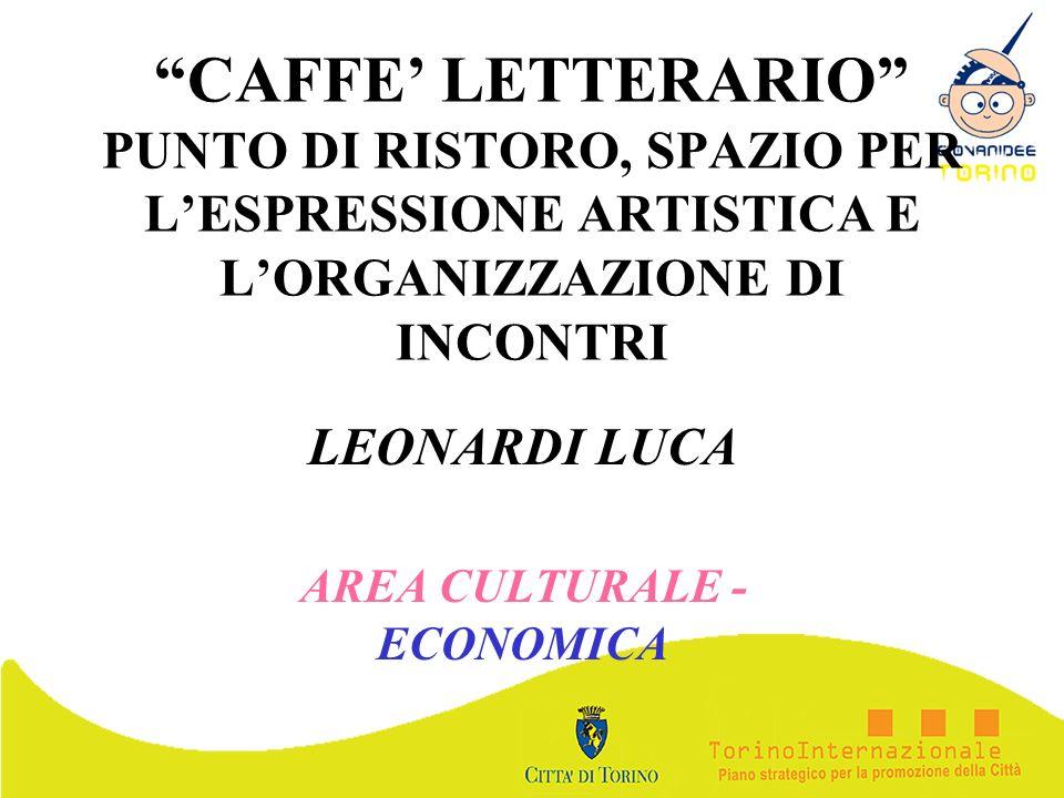 CAFFE LETTERARIO PUNTO DI RISTORO, SPAZIO PER LESPRESSIONE ARTISTICA E LORGANIZZAZIONE DI INCONTRI LEONARDI LUCA AREA CULTURALE - ECONOMICA